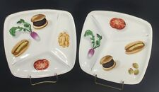 "2 VINTAGE DIVIDED 10-1/2""  China PLATES 1950'S Hot Dogs Vegetables Burgers"