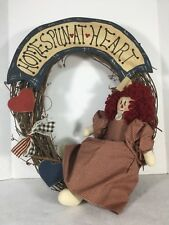 "Grapevine Wreath Primitive Country Americana ""Homespun At Heart"" Hearts Ragdoll"