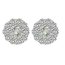 5.5 ct Round Cut Genuine Moissanite Sterling Silver Halo Stud Earrings