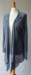 Ladies Mint Velevt Blue Linen Open Front Waterfall Cardigan Size UK 14