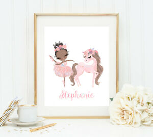 Ballerina and Pony Prints - Personalized with Name - 8x10 Unframed