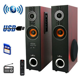 beFree 2.1 Powered Bluetooth Dual Wood Luxury Tower Speakers with Optical Input
