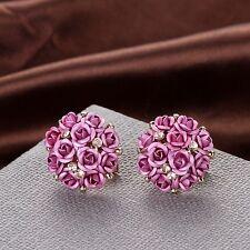 Fashion Women Jewelry Elegant Rose Flower Crystal Rhinestone Ear Stud Earring