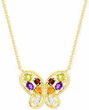 Victoria Townsend Sterling Silver Multi-Gem Diamond Accent Butterfly Necklace