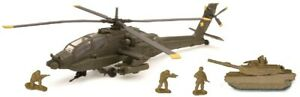 1/60 Diecast US Army Apache Helicopter & M1 Abrams Tank w/ Soldiers Playset MIB