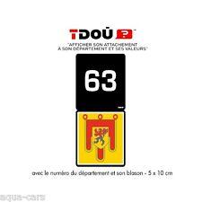 Adhesif Sticker Autocollant Pour Plaque D'immatriculation Puy de Dôme 63