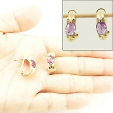 Natural Amethyst & Diamond Solid 14k Yellow Gold Omega Back Earrings TPJ