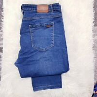 MASSIMO Denim Mens Stretch Jeans Size 42 (W34 L29) Straight Leg Zip Fly Blue