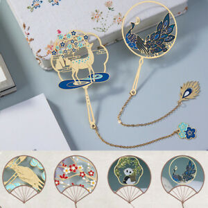 Chinese Style Retro Pagination Mark Tassel Bookmark Brass Peacock Book Clip