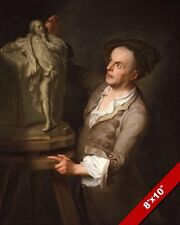 PAINTING OF MASTER SCULPTOR LOUIS FRANCOIS ROUBILIAC ART REAL CANVAS PRINT