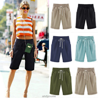 Women's Plus Size Loose Shorts Knee Combat Chino Cargo Summer Holiday Pant UK 22
