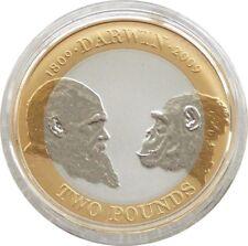2009 Charles Darwin PIEDFORT £ 2 Due Pound Argento Proof MEDAGLIA BOX COA