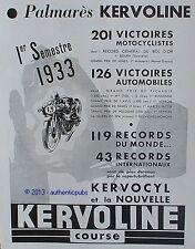 PUBLICITE KERVOLINE 201 VICTOIRES MOTOCYCLISTE COURSE RECORD DU MONDE DE 1933 AD