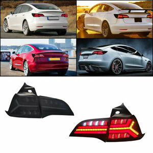 LED Tail Lights For Tesla Model 3 Model Y 2019-2020 smoked  Assembly Turn Signal