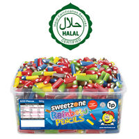 SWEETZONE RAINBOW PENCILS TUB SWEETS CANDY KIDS PARTY FAVOURS 100% HALAL HMC