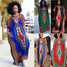 Fashion Women's Long Short sleeve Traditional African Print Casual Party Dress
