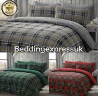 Luxury Tartan Teddy Bear Fleece Duvet Cover Soft Cosy Warm Check Bedding Set