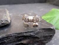Hübscher 925 Silber Ring Schleife Rockabilly Zirkonia Vintage Teil Vergoldet Top
