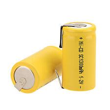 2 Stück Gelb 1.2V 1300mAh Sub C SC Ni-Cd Wiederaufladbare Batterie mit Tab Akkus