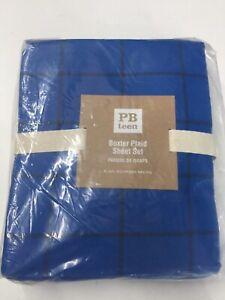 NIP New Pottery Barn Teen Boxter Plaid Sheet Set XL Twin Bright Blue Extra Long