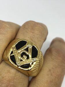 1980's Vintage Golden Stainless Steel Black Onyx Size 10.25 Free Mason Ring