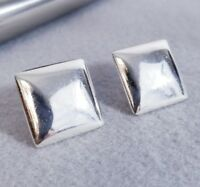 VTG 925 Sterling Silver Classic Puff Square Earrings
