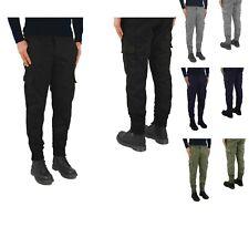 Pantaloni Uomo Tasche Laterali Cargo jeans COTONE Tasconi Multitasche Zip cavigl