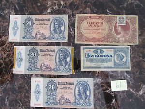 Stunning Lot of 5 Currency Bills  Hungary Notes
