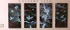 EPIC! CHINESE WALL ART 4 BLACK LACQUERED PANELS! MOTHER OF PEARL PAINTING ASIAN