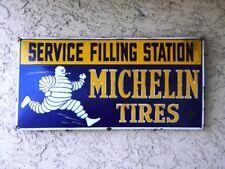 "MICHELIN TIRES OLD PORCELAIN SIGN ~31-1/2"" x 15-3/4"" SERVICE FILLING STATION OIL"