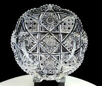 """ABP AMERICAN BRILLIANT PERIOD CUT CRYSTAL HOBSTAR & BUTTONS 8 7/8"""" LOW BOWL 1890"""