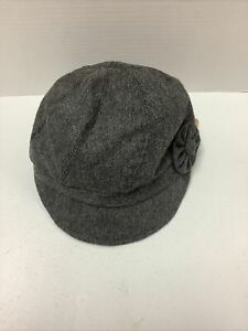 TICKLED PINK - Newsboy Cabbie Puff Style Ladies Knot Cap Hat Dark Grey