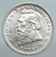 1936 LITHUANIA Silver 5 Litai JONAS BASANAVICIUS Vintage Lithuanian Coin i90367