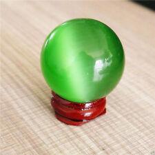 Hot Sell 36-40MM ASIAN QUARTZ GREEN CAT EYE CRYSTAL BALL SPHERE + STAND
