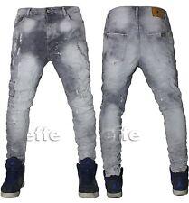 Jeans uomo Grigio Denim Harem cavallo basso strappati pantaloni slim nuovo 9060
