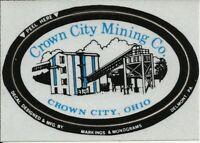 Crown City Mining Co. Ohio Vintage Unused Mining Hard Hat Decal Sticker
