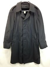 Military Issue Trenchcoat Mens 40 Long Jacket Black All Weather Removable Liner