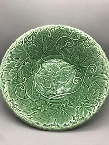 "Bordallo Pinheiro Large Green Leaf Salad Bowl 10"" Portugal"