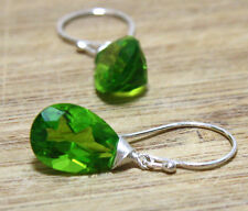 Peridot Gemstone Drop Wire Wrapped Earring in Solid Sterling Silver August Birth