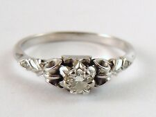 100% Genuine Vintage 18k Solid White Gold .10ct Diamond Solitaire Ring Sz 7.5 US
