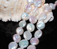 """13-14mm Natural White Coin Freshwater Cultured Pearl Loose bead 15"""" AAA"""