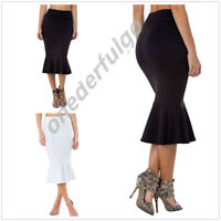 Women Mermaid Tail Ruffle Bodycon Dress Evening Party Clubwear Midi Skirt Office