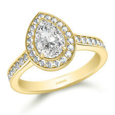 1.80 Ct Pear Cut Diamond Solitaire Engagement Ring 14K Solid Yellow Gold Size O