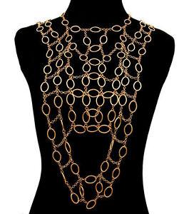 Gold VEST Drape BODY CHAIN Statement Metal Celebrity Inspired V-Link Chain
