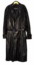 Vintage Wilsons Leather Black DB Mens Heavy Trench Coat with Belt Sz XL Korea