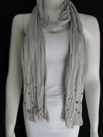 WOMEN GRAY SOFT FABRIC SCARF SILVER METAL SPIKES STARS STUDS CASUAL DAY FASHION