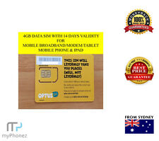 OPTUS 4GB DATA 4G ONLY SIM CARD STANDARD SIZE AVAIALBLE+BULK QTY AVAILABLE OZ