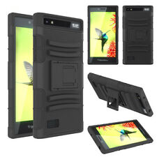 For BlackBerry Leap Case Dual Layer Armor Hybrid Holster Tough Bumper Cover Skin