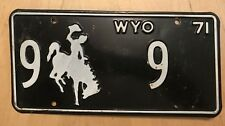 """1971 WYOMING LICENSE PLATE """" 9   9 """"  LOW #  WYO 71  NEAT NUMBER BIG HORN COUNTY"""