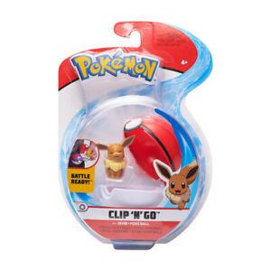 "NIB Pokemon Clip 'n' Go Eevee w/ closed eyes & Poke Ball Action Figure Toy 2"""